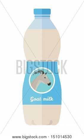 Dairy product vector. Flat design. Labeled plastic bottle of goat milk with animal head on it. Illustration for farm husbandry, milk production, grocery store ad. Diet food. Isolated on white