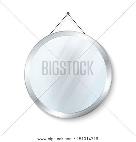 Round mirror with steel frame vector illustration. Glossy circle mirror isolated on white background