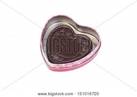 Heart Dark Chocolates In Heart Box isolated