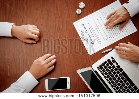 Signing marriage documents in notary public office