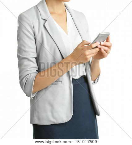 Businesswoman with phone on white background