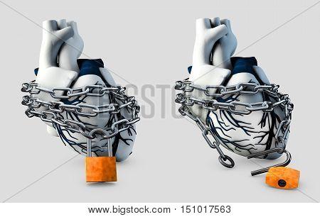 3d Illustration of Anatomy Lock and Unlock Human Heart - Isolated on gray