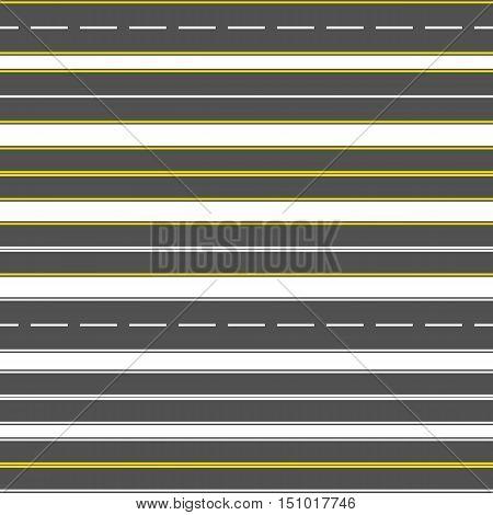 road or highway with markings. Direction, transportation set. Vector illustration