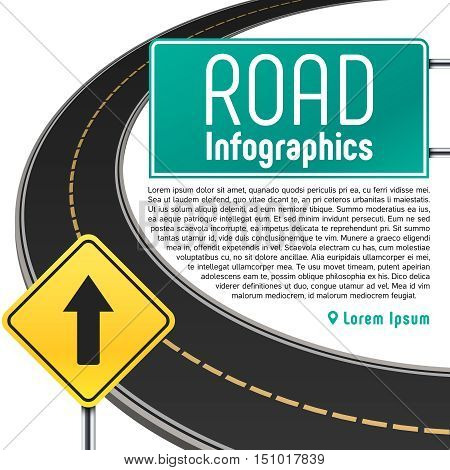 Road trip map vector infographics. Banner with information to highway illustration