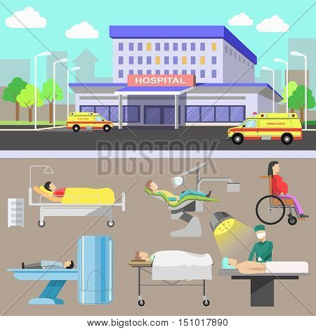 Medical illustration with hospital and ambulance car. Medicine and healthcare concept with diagnostic equipment and medical staff. Flat style. Set of vector elements for design. Isolated on white background