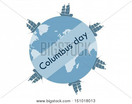 Columbus Day, The Discoverer Of America. Floating Ships. Vector Illustration.