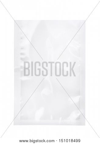 Empty blank transparent plastic bag isolated on white