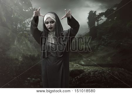 Asian Nun Woman Is Considered To Have Magic Powers Of Evil