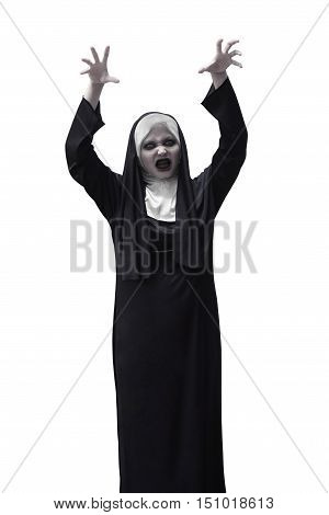 Scary Asian Nun Raise Up Hand Want To Scare