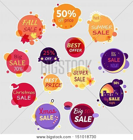 Collection of sale elements. Fall sale, off price, best offer, big sale night, summer sale, big sale, best price, christmas sale, xmas sale. Set of advertising coupon, badges, labels and stickers.