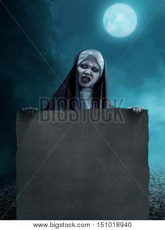 Creepy Asian Nun Holding Blank Parchment Paper
