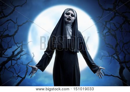 Scary Asian Evil Nun Woman Expressions On The Moonlight