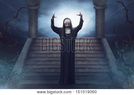 Devil Asian Nun Walks Down The Ruins Stairs