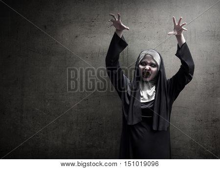 Young Evil Asian Woman Nun Scare