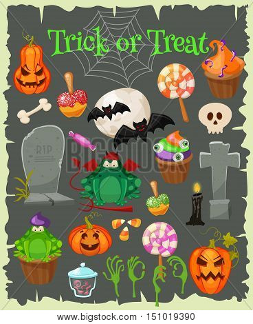 Trick or treat. Halloween icons isolated grunge background. Halloween vector characters. Pumpkin, witch copper, skull , candyes and other cute Halloween things