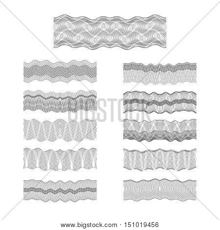 Guilloche vector borders set engraving money pattern texture. Watermark for protected banknote, diploma and money illustration
