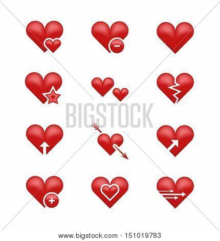 Heart love emoji, emoticons vector set. Broken heart, arrow and star illustration