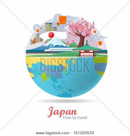Japan tourism poster design with attractions on the background of the globe. Time to travel. Japan landmark. Japan travel poster design in flat. Travel composition with famous landmarks.