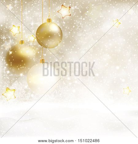 Festive white beige Christmas background with baubles and snow. Golden stars, light effects and snowfall give this textured background a festive and magical design.