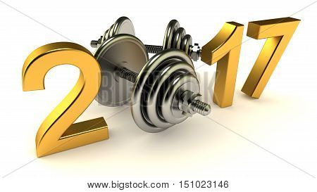 Dumbells and 2017 year on a White Background, 3d-illustration