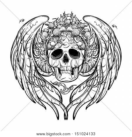 Human skull in a wreath of thistle with feathered wings behind isolated on white background. Symbolic meaning. Halloween concept art. Tattoo design. Intricate hand drawing. EPS10 Vector illustration.