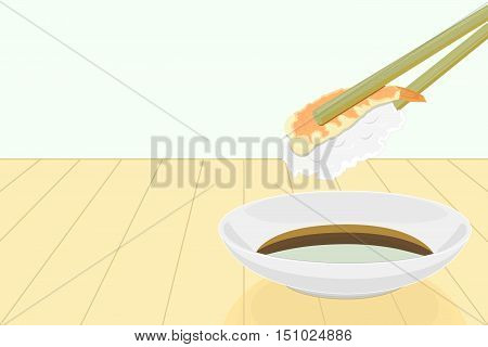vector of holding shrimp sushi roll with chopsticks and shoyu sauce on the backdrop of wooden planks.
