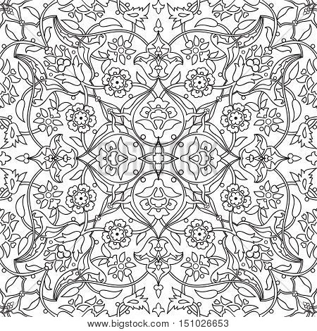 Stylized flowers oriental doodle  seamless abstract background vector decoration tile print oriental tribal floral ornament paisley arabesque floral pattern tile vintage black and white colors