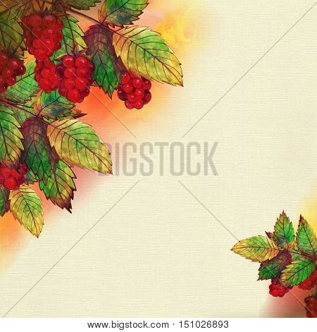 Raster watercolor autumn illustration with raspberries and leaves