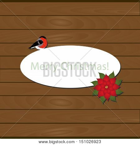 oval white frame with bullfinch and a Christmas flower on wooden background from boards. Merry Christmas. template postcard greeting. new year vector illustration