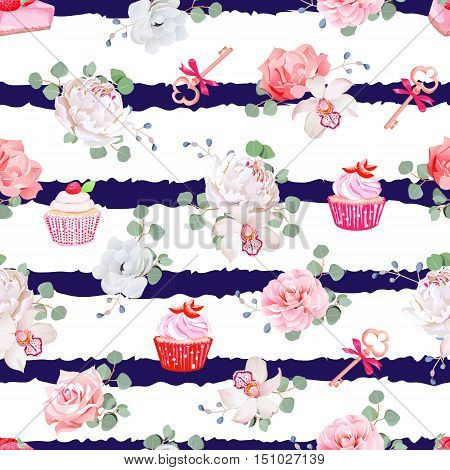 Navy striped seamless vector pattern with fresh pastries bouquets of flowers and keys with red bows. Peony orchid rose camellia cupcakes strawberry cheesecake.