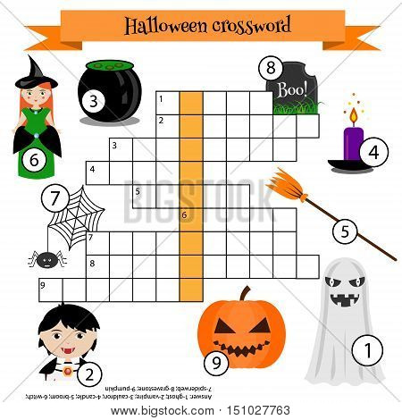 Crossword educational children game with answer. Learning vocabulary. Vector illustration printable worksheet. Halloween theme
