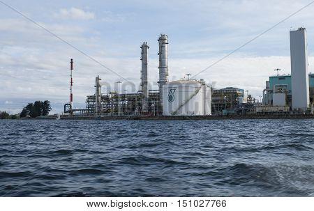 LABUAN, MALAYSIA JUNE 2016 : PETRONAS CHEMICAL METHANOL (Labuan) Sdn Bhd plant scenery form the sea