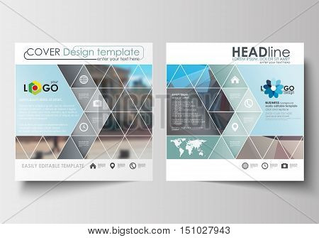 Business templates for square design brochure, magazine, flyer, booklet or annual report. Leaflet cover, abstract flat layout, easy editable blank. Abstract business background, blurred image, urban landscape, modern stylish vector.