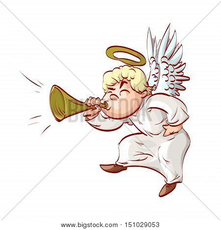 Cartoon illustration of a cartoon angel playing ( blowing ) on a trumpet.
