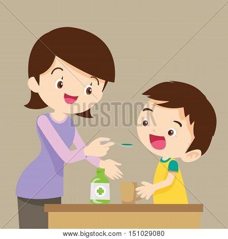 Little boy drinking syrup medicine liquid mother hand feed.cute boy eat drug cartoon vector.