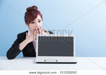 business woman show computer to you with isolated on blue background asian