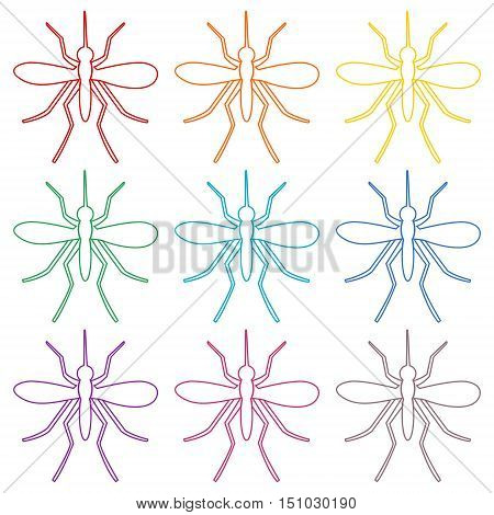 Simple Mosquito icons set on white background