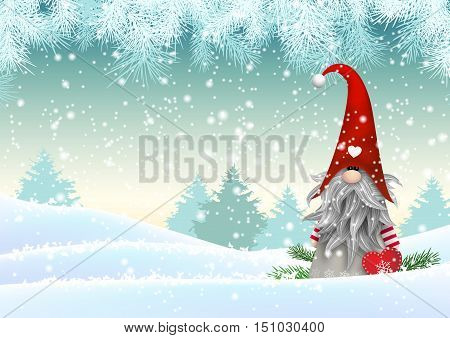 Gnome Tomte standing in winter landscape, Nisser in Norway and Denmark, Tomtar in Sweden or Tonttu in Finnish, Scandinavian folklore elves, christmas motive, vector illustration, eps 10 with transparency