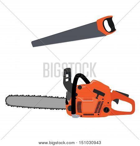 Vectot illustration realistic chainsaw and hand saw. Petrol chain saw. Professional instrument working tool. Chainsaw icon