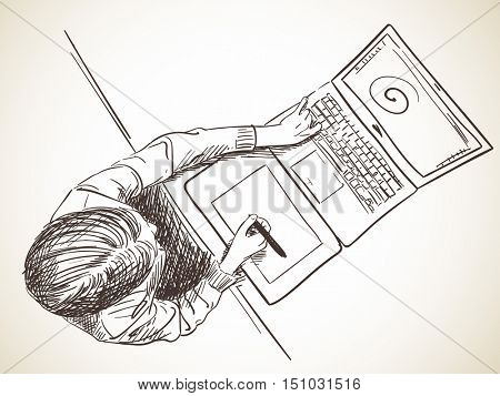 Sketch of designer working on lap top using pen tablet, Hand drawn vector illustration