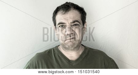 Skeptic. Portrait of a man mistrustful