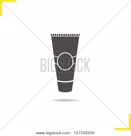 Tube for cream icon. Drop shadow toothpaste silhouette symbol. Aftershave cream. Negative space. Vector isolated illustration