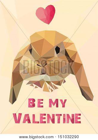 Valentine's Day card, vector illustration rabbit, low poly rabbit, cute rabbit