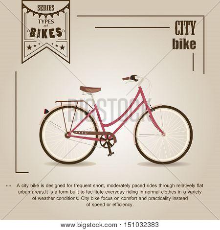 Vector series 'types of bikes'. City bike