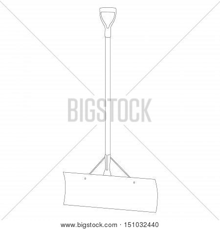 Vector illustration snow shovel outline drawing. Snow shovel flat icon