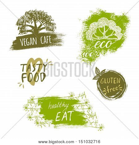 Retro style set of bio organic gluten free eco healthy food labels. Logo templates with floral and vintage elements in green color for meal and drink cafe restaurants or organic products packaging