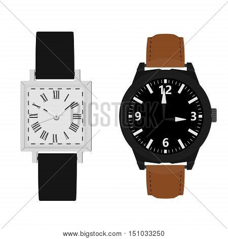 Vector illustration collection of two classic analog men wrist watch with black and brown leather band. Watch with roman numerals and numbers