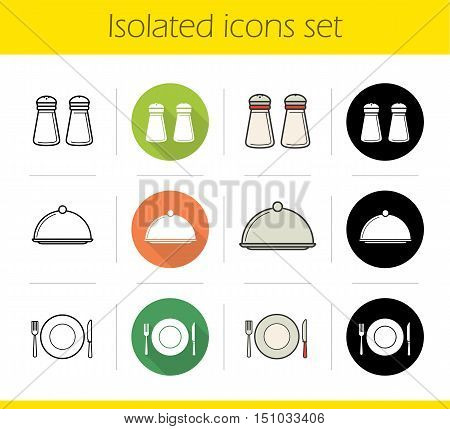 Restaurant kitchen equipment icons set. Flat design, linear, black and color styles. Salt and pepper shakers, covered serving dish, fork, plate and table knife. Isolated vector illustrations