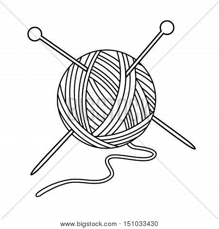 Vector illustration outline drawing yarn ball with crossed needles for knitting. Yarn ball icon