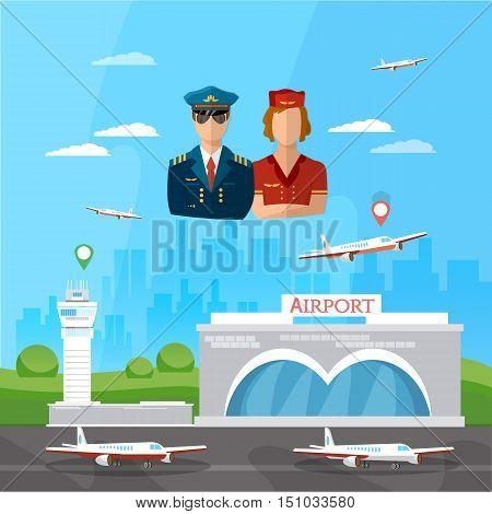 Airport pilot stewardess international airlines vector illustration